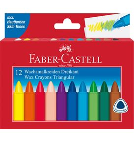 Faber-Castell - Wax crayon triangular, cardboard wallet of 12