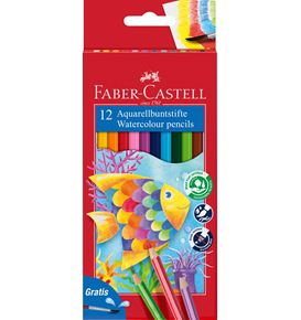 Faber-Castell - Watercolour pencil cardboard box of 12 incl. brush