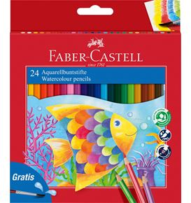Faber-Castell - Watercolour pencil cardboard box of 24 incl. brush