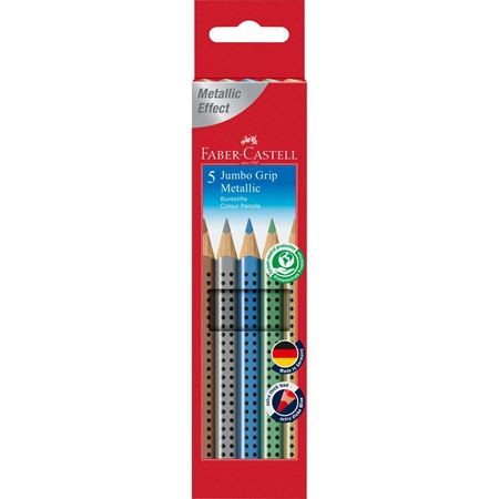 Faber-Castell - Jumbo Grip metallic colour pencil, cardboard wallet of 5