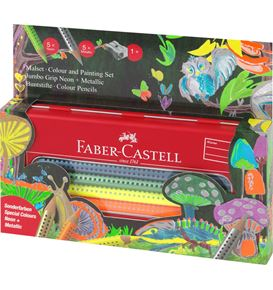 Faber-Castell - Set Jumbo Grip colour néon+ métallique