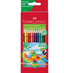 Faber-Castell - Coloured pencil triangular cardboard box of 12