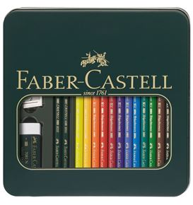 Faber-Castell - Tin box Mixed media Polychromos & Castell 9000