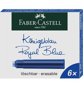 Faber-Castell - Ink cartridges, standard, 6x blue erasable